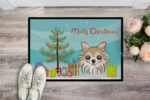 Christmas Tree and Chihuahua Indoor or Outdoor Mat 24x36 Perspective: back