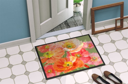 Poppies by Anne Searle Indoor or Outdoor Mat 24x36 Perspective: back