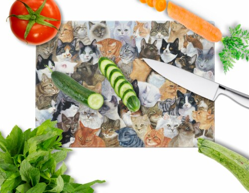 Carolines Treasures  BDBA0414LCB Cats Galore Glass Cutting Board Large Perspective: back