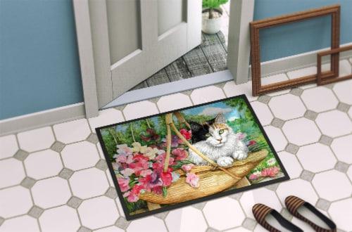 Carolines Treasures  CDCO0178MAT Cat In Basket Indoor or Outdoor Mat 18x27 Perspective: back