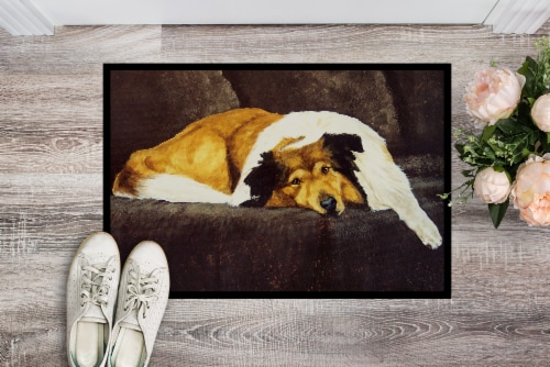 Collie by Tanya and Craig Amberson Indoor or Outdoor Mat 24x36 Perspective: back