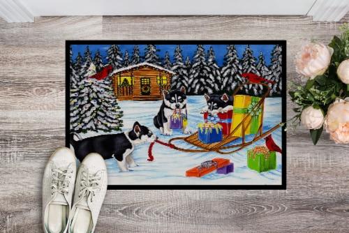 Christmas Mush Siberian Husky Indoor or Outdoor Mat 24x36 Perspective: back