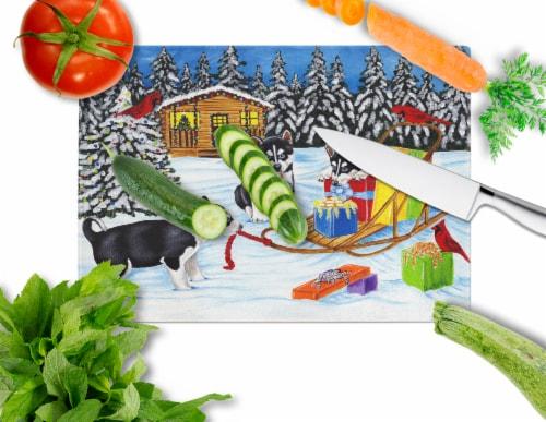 Christmas Mush Siberian Husky Glass Cutting Board Large Perspective: back