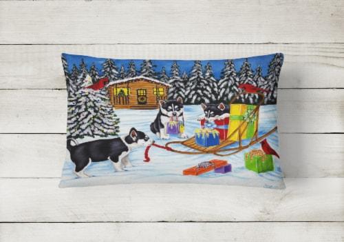 Christmas Mush Siberian Husky Fabric Decorative Pillow Perspective: back