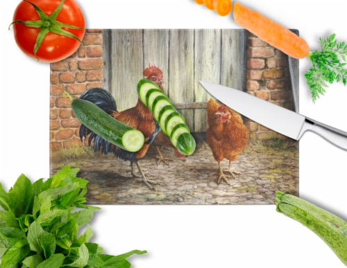 Rooster and Chickens by Daphne Baxter Glass Cutting Board Large Perspective: back