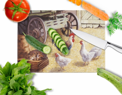 Rooster and Hens Chickens in the Barn Glass Cutting Board Large Perspective: back