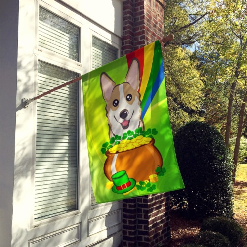 Sable Corgi St. Patrick's Day Flag Canvas House Size Perspective: back