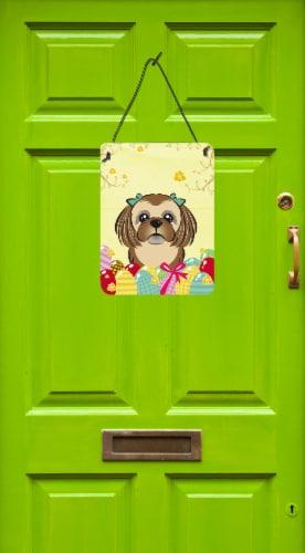 Chocolate Brown Shih Tzu Easter Egg Hunt Wall or Door Hanging Prints Perspective: back