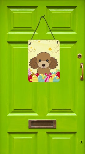 Chocolate Brown Poodle Easter Egg Hunt Wall or Door Hanging Prints Perspective: back
