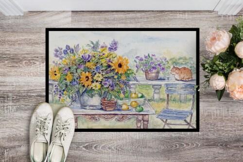 Patio Bouquet of Flowers Indoor or Outdoor Mat 24x36 Perspective: back