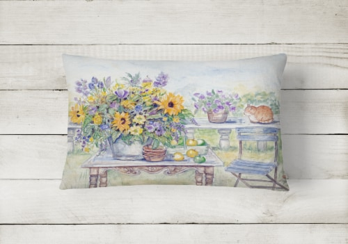 Patio Bouquet of Flowers Fabric Decorative Pillow Perspective: back