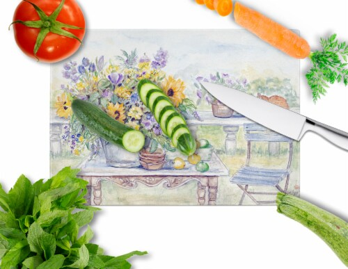 Patio Bouquet of Flowers Glass Cutting Board Large Perspective: back