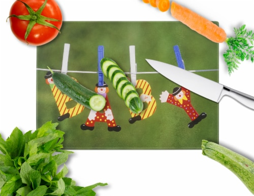 New Baby Clown Clothesline Glass Cutting Board Large Perspective: back