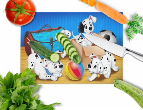 Dalmatians playing ball Glass Cutting Board Large Perspective: back