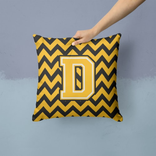 Letter D Chevron Black and Gold Fabric Decorative Pillow Perspective: back