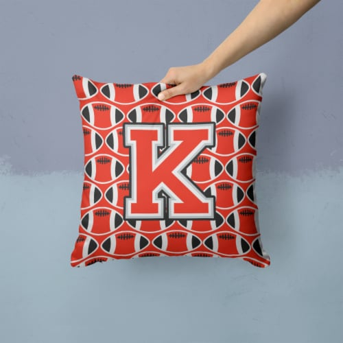Letter K Football Scarlet and Grey Fabric Decorative Pillow Perspective: back