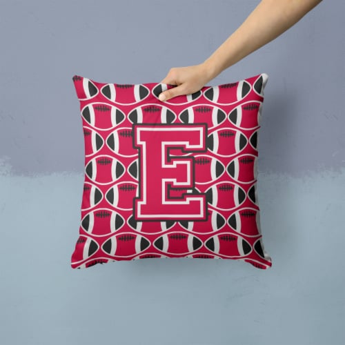 Letter E Football Crimson and White Fabric Decorative Pillow Perspective: back