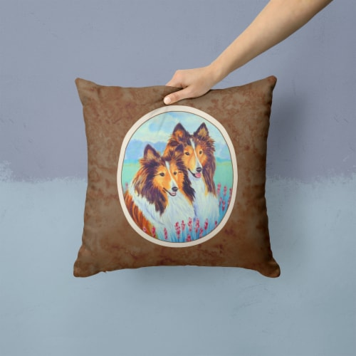 Sable Shelties Double Trouble Fabric Decorative Pillow Perspective: back