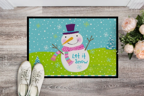 Christmas Snowman Let it Snow Indoor or Outdoor Mat 24x36 Perspective: back