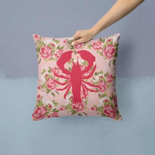 Lobster Shabby Chic Pink Roses  Fabric Decorative Pillow Perspective: back