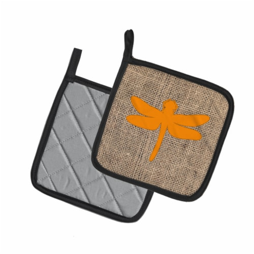 Dragonfly Faux Burlap and Orange   Pair of Pot Holders Perspective: back