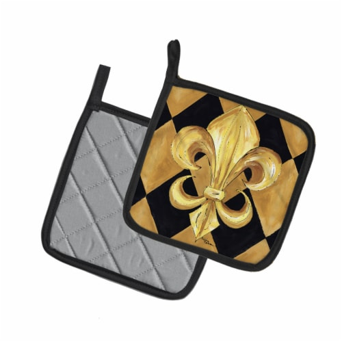 Black and Gold Fleur de lis New Orleans Pair of Pot Holders Perspective: back