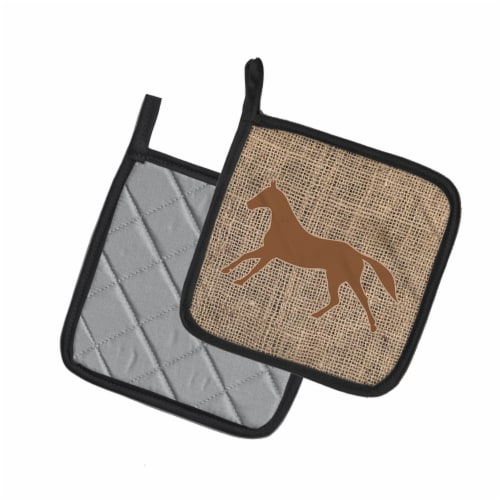 Horse Faux Burlap and Brown   Pair of Pot Holders Perspective: back