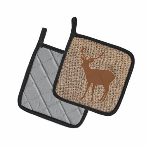 Deer Faux Burlap and Brown   Pair of Pot Holders Perspective: back