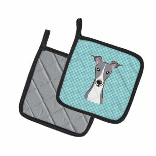 Checkerboard Blue Italian Greyhound Pair of Pot Holders Perspective: back