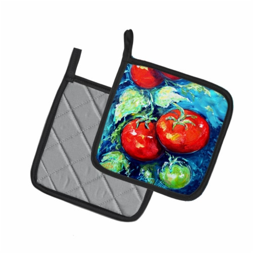 Vegetables - Tomatoes on the vine Pair of Pot Holders Perspective: back