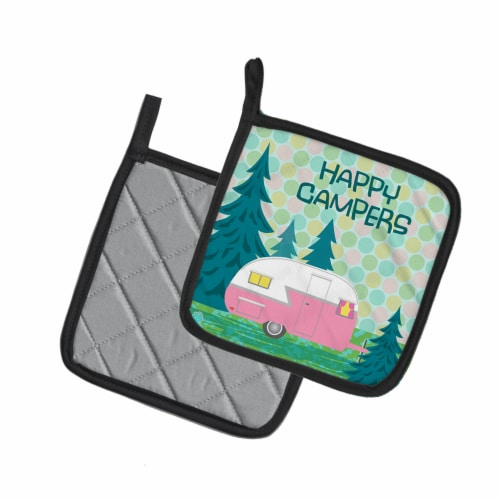 Happy Campers Glamping Trailer Pair of Pot Holders Perspective: back