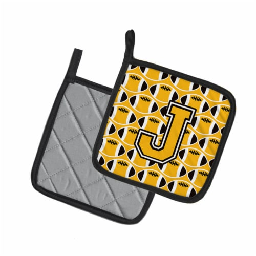 Letter J Football Black, Old Gold and White Pair of Pot Holders Perspective: back