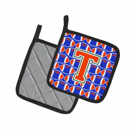 Letter T Football Green, Blue and Orange Pair of Pot Holders Perspective: back