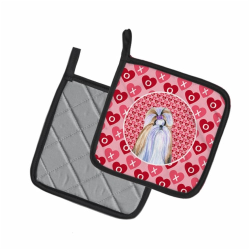 Shih Tzu Hearts Love and Valentine's Day Portrait Pair of Pot Holders Perspective: back