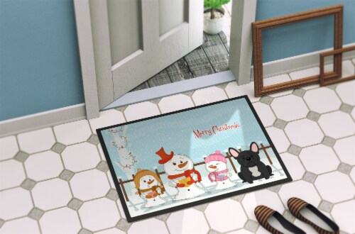 Merry Christmas Carolers French Bulldog Black Indoor or Outdoor Mat 24x36 Perspective: back