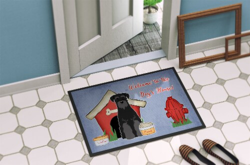 Dog House Collection Standard Schnauzer Black Indoor or Outdoor Mat 24x36 Perspective: back