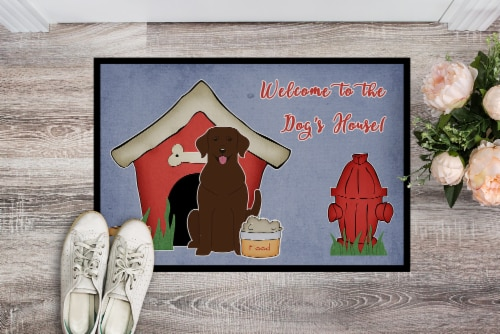 Dog House Collection Chocolate Labrador Indoor or Outdoor Mat 24x36 Perspective: back