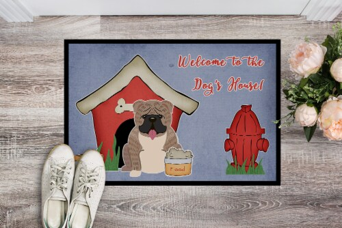 Dog House Collection English Bulldog Grey Brindle  Indoor or Outdoor Mat 24x36 Perspective: back