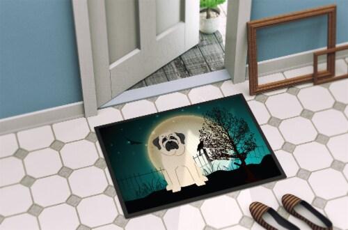 Halloween Scary Mastiff White Indoor or Outdoor Mat 18x27 Perspective: back