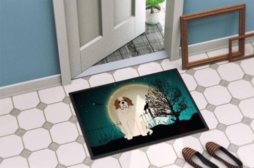 Halloween Scary Saint Bernard Indoor or Outdoor Mat 18x27 Perspective: back