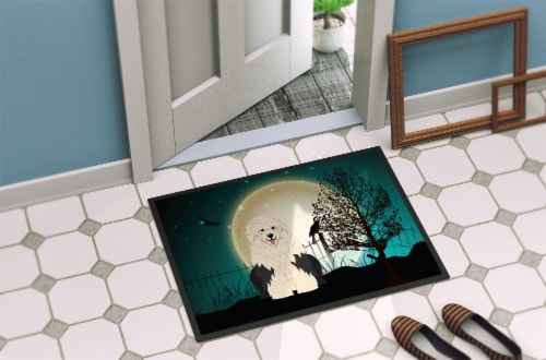 Halloween Scary Old English Sheepdog Indoor or Outdoor Mat 18x27 Perspective: back