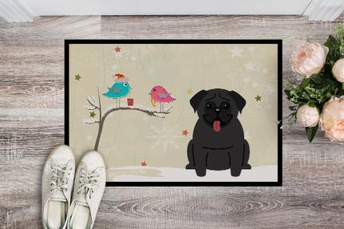 Christmas Presents between Friends Pug Black Indoor or Outdoor Mat 18x27 Perspective: back