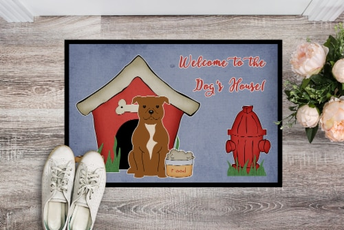 Dog House Collection Staffordshire Bull Terrier Brown Indoor or Outdoor Mat 18x2 Perspective: back