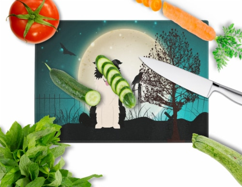 Halloween Scary Border Collie Black White Glass Cutting Board Large Perspective: back