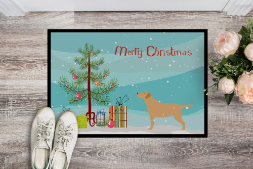Yellow Labrador Retriever Merry Christmas Tree Indoor or Outdoor Mat 18x27 Perspective: back