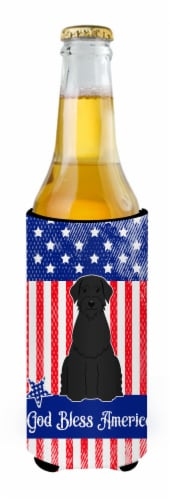 Patriotic USA Giant Schnauzer Michelob Ultra Hugger for slim cans Perspective: back