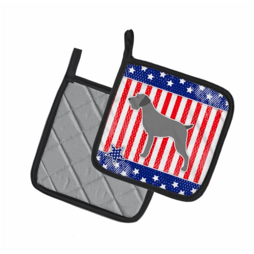 USA Patriotic German Wirehaired Pointer Pair of Pot Holders Perspective: back