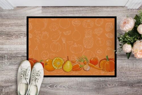 Fruits and Vegetables in Orange Indoor or Outdoor Mat 24x36 Perspective: back