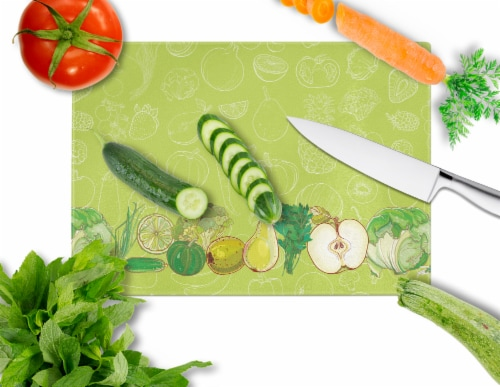 Fruits and Vegetables in Green Glass Cutting Board Large Perspective: back