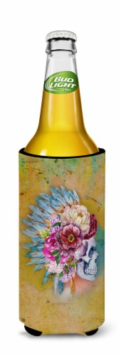 Day of the Dead Flowers Skull  Michelob Ultra Hugger for slim cans Perspective: back